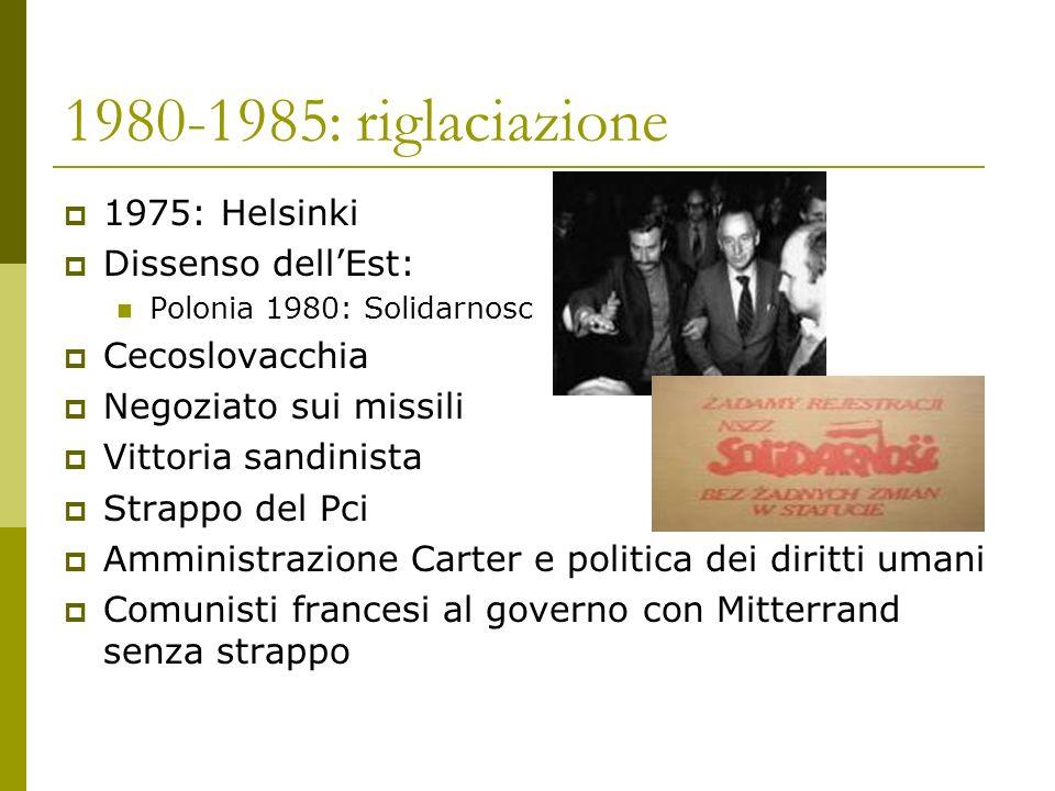 1980-1985: riglaciazione 1975: Helsinki Dissenso dell'Est: