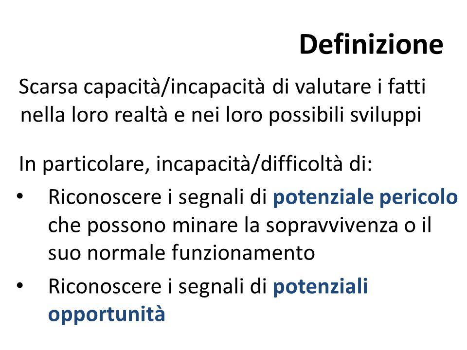Definizione Scarsa capacità/incapacità di valutare i fatti nella loro realtà e nei loro possibili sviluppi.