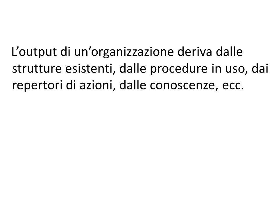L'output di un'organizzazione deriva dalle strutture esistenti, dalle procedure in uso, dai repertori di azioni, dalle conoscenze, ecc.