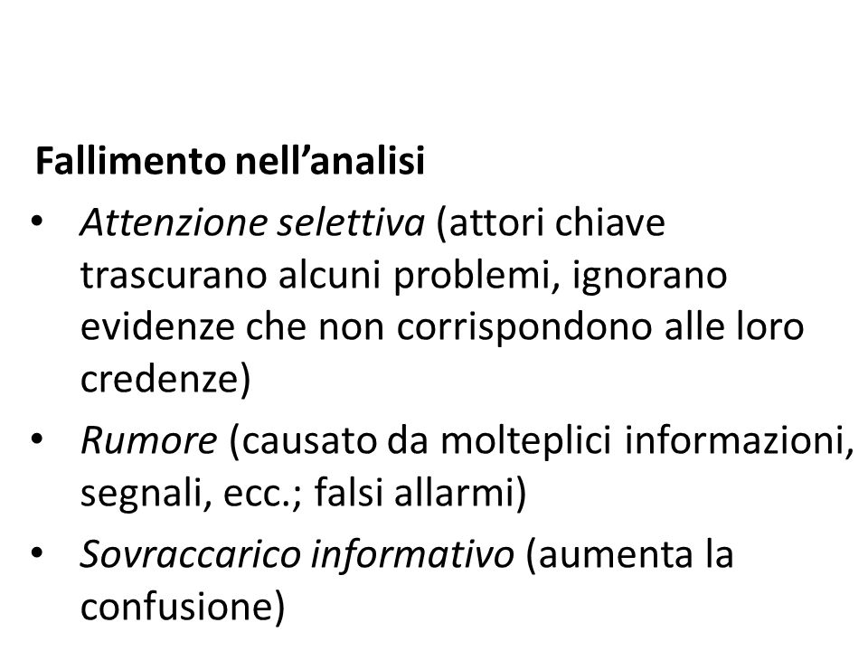 Fallimento nell'analisi