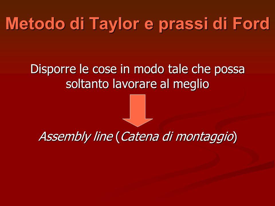 Metodo di Taylor e prassi di Ford