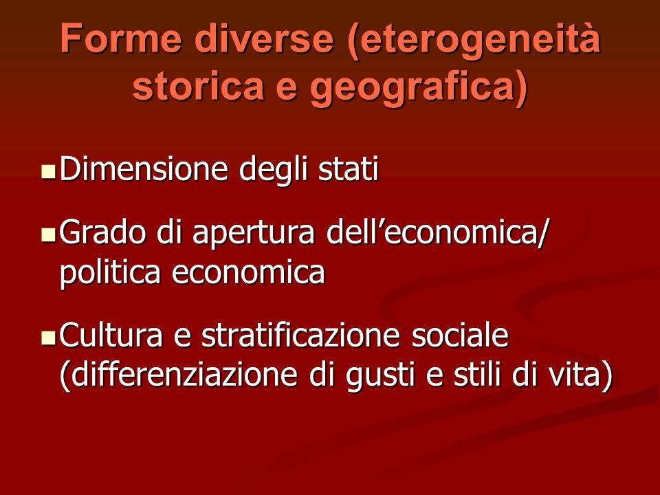 Forme diverse (eterogeneità storica e geografica)