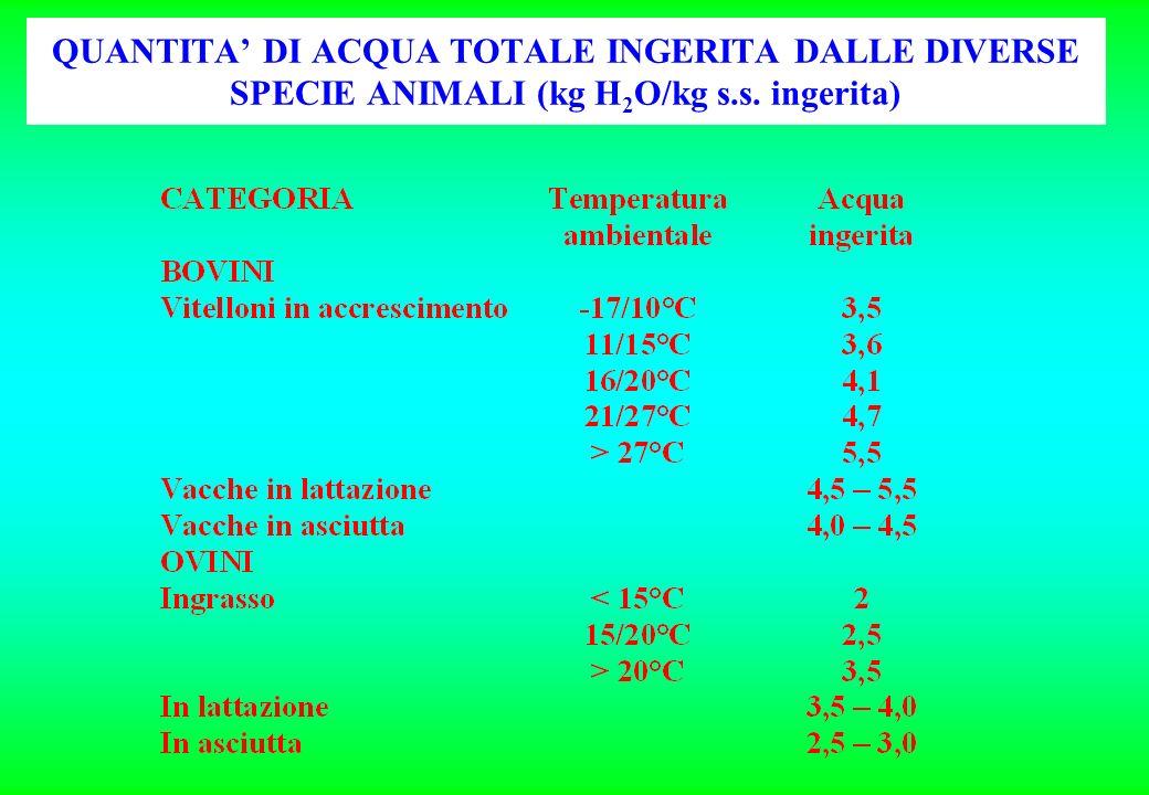 QUANTITA' DI ACQUA TOTALE INGERITA DALLE DIVERSE SPECIE ANIMALI (kg H2O/kg s.s. ingerita)