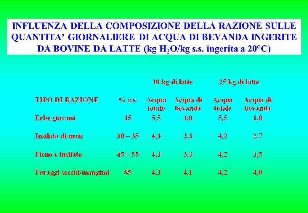 INFLUENZA DELLA COMPOSIZIONE DELLA RAZIONE SULLE QUANTITA' GIORNALIERE DI ACQUA DI BEVANDA INGERITE DA BOVINE DA LATTE (kg H2O/kg s.s.