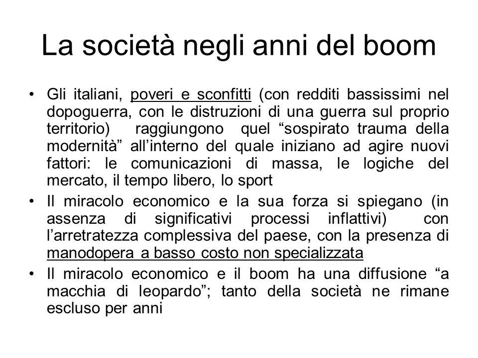 La società negli anni del boom