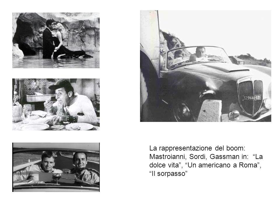 La rappresentazione del boom: Mastroianni, Sordi, Gassman in: La dolce vita , Un americano a Roma , Il sorpasso