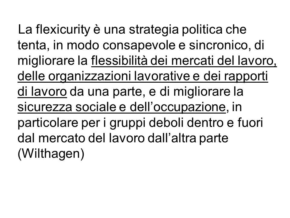 La flexicurity è una strategia politica che tenta, in modo consapevole e sincronico, di migliorare la flessibilità dei mercati del lavoro, delle organizzazioni lavorative e dei rapporti di lavoro da una parte, e di migliorare la sicurezza sociale e dell'occupazione, in particolare per i gruppi deboli dentro e fuori dal mercato del lavoro dall'altra parte (Wilthagen)