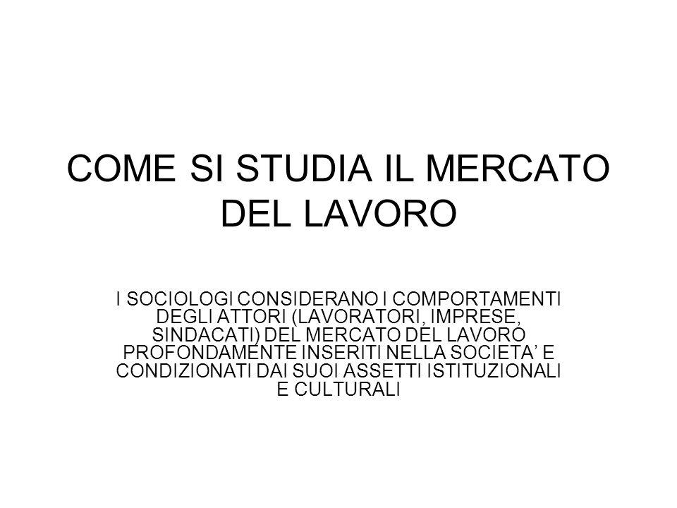 COME SI STUDIA IL MERCATO DEL LAVORO