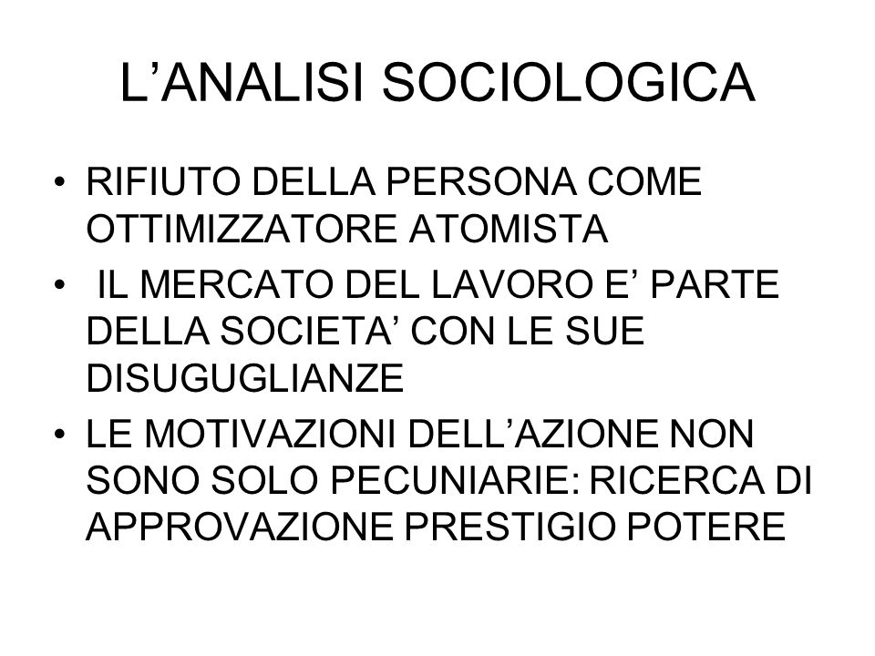 L'ANALISI SOCIOLOGICA