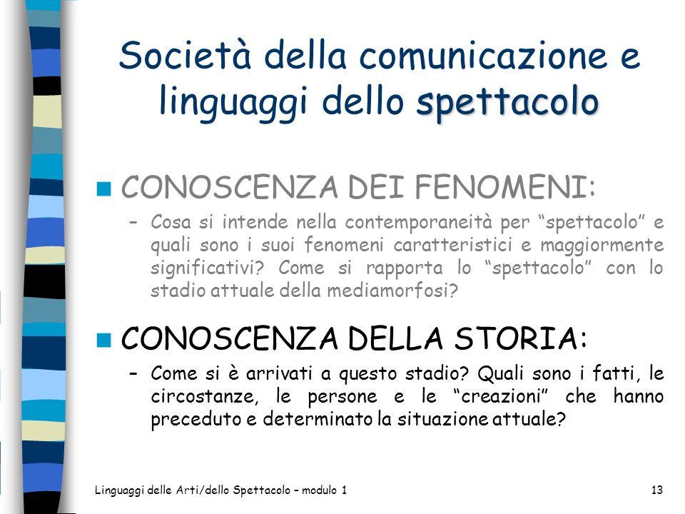 Società della comunicazione e linguaggi dello spettacolo
