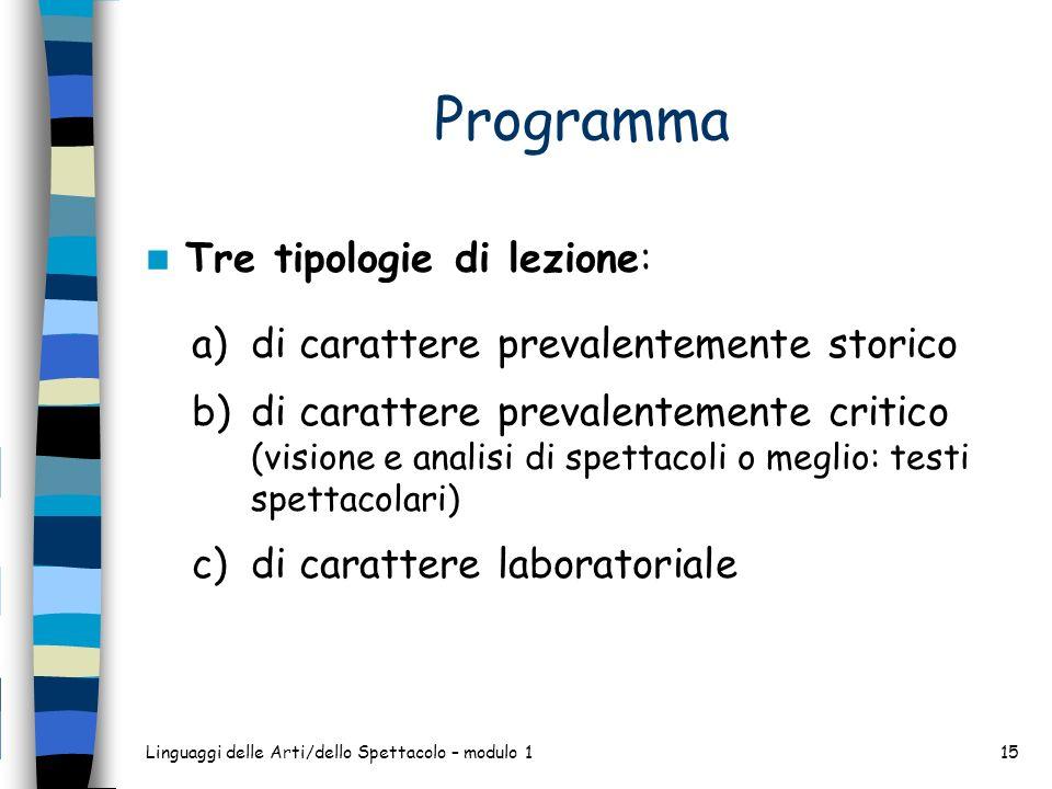 Programma Tre tipologie di lezione: