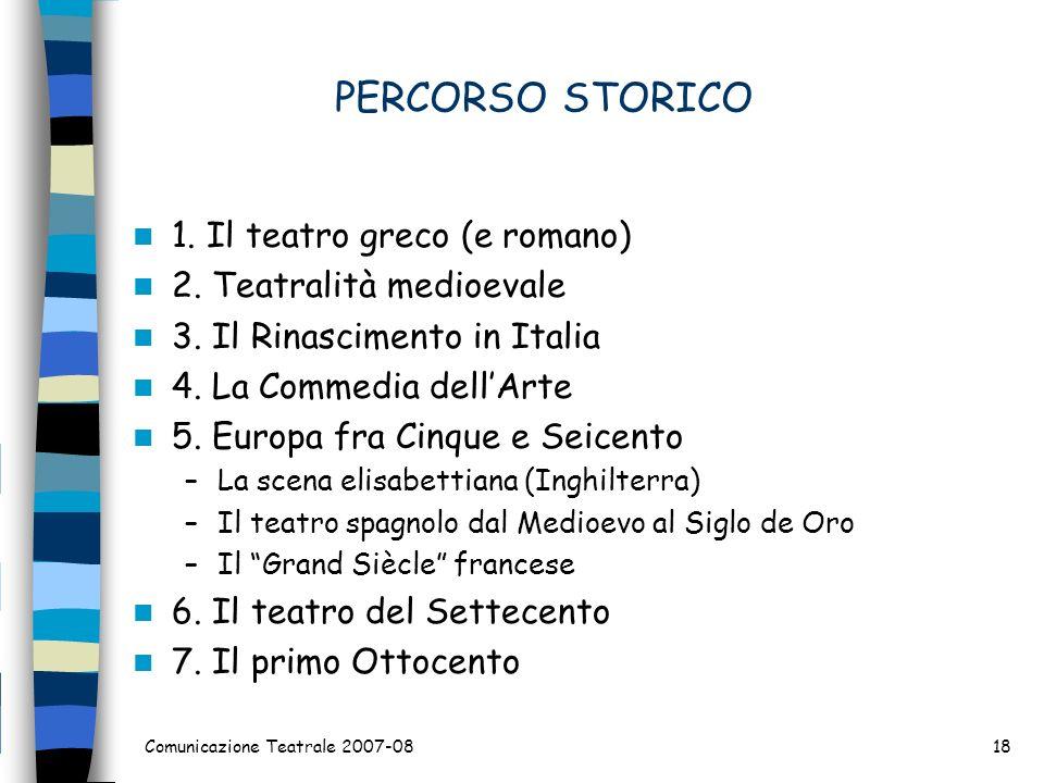 PERCORSO STORICO 1. Il teatro greco (e romano)