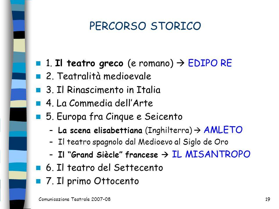 PERCORSO STORICO 1. Il teatro greco (e romano)  EDIPO RE