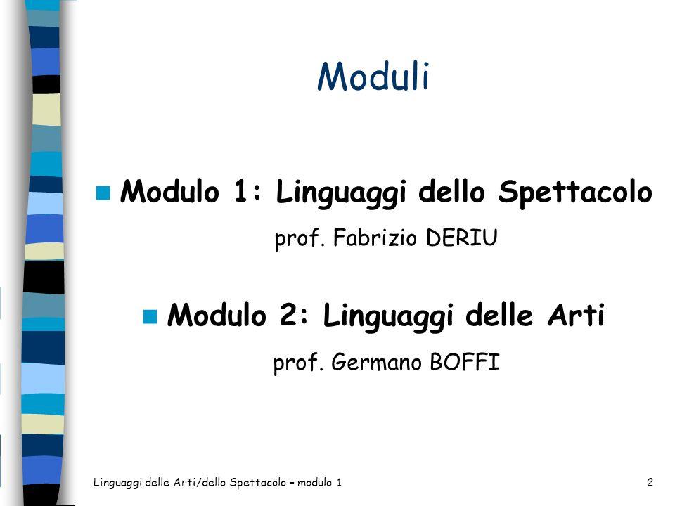 Moduli Modulo 1: Linguaggi dello Spettacolo prof. Fabrizio DERIU