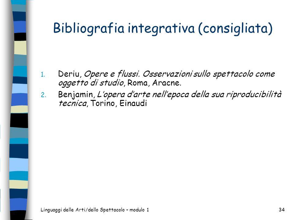 Bibliografia integrativa (consigliata)