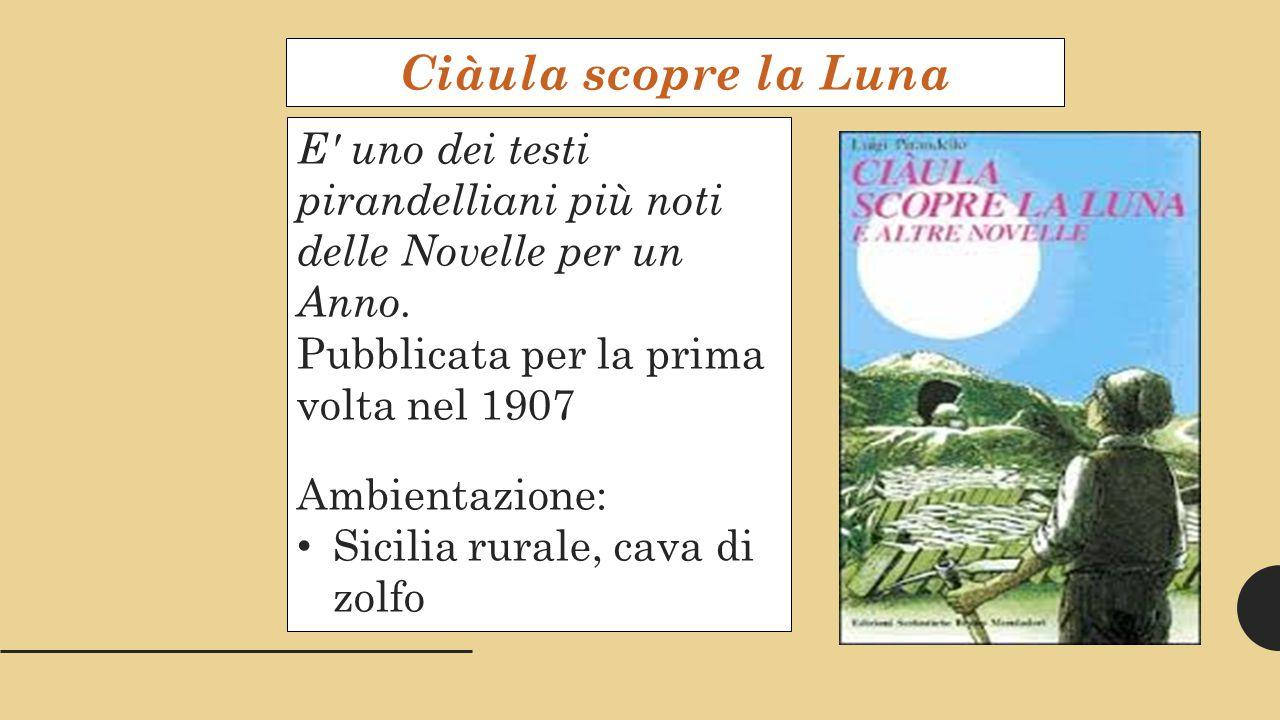Ciàula scopre la Luna E uno dei testi pirandelliani più noti delle Novelle per un Anno. Pubblicata per la prima volta nel 1907.