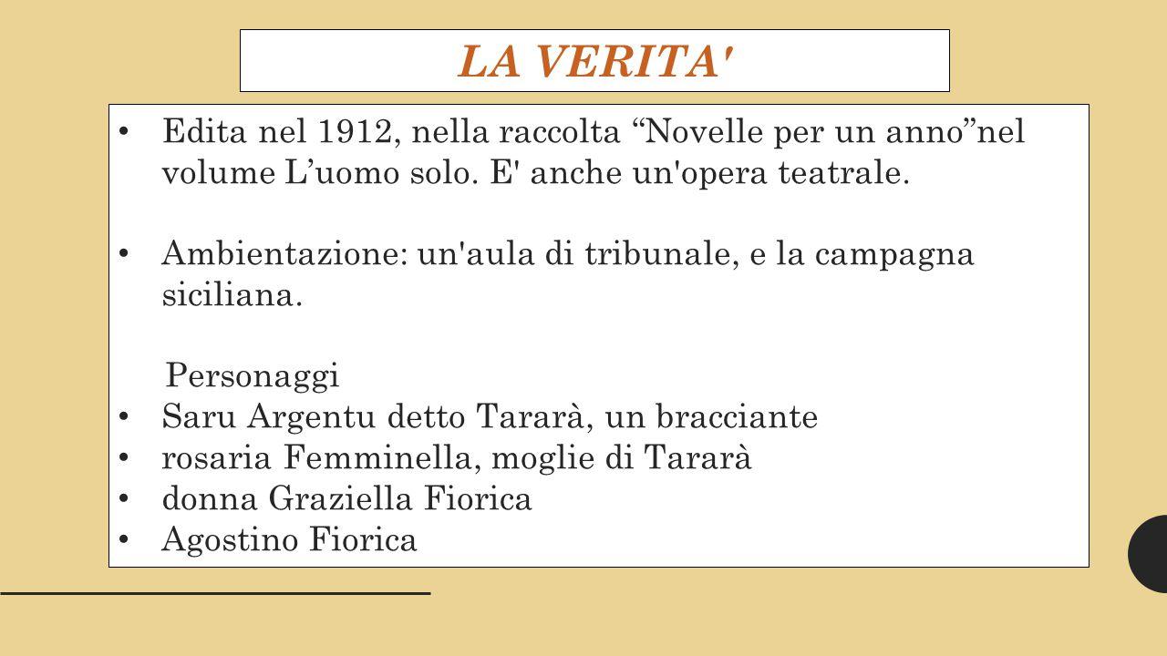 LA VERITA Edita nel 1912, nella raccolta Novelle per un anno nel volume L'uomo solo. E anche un opera teatrale.