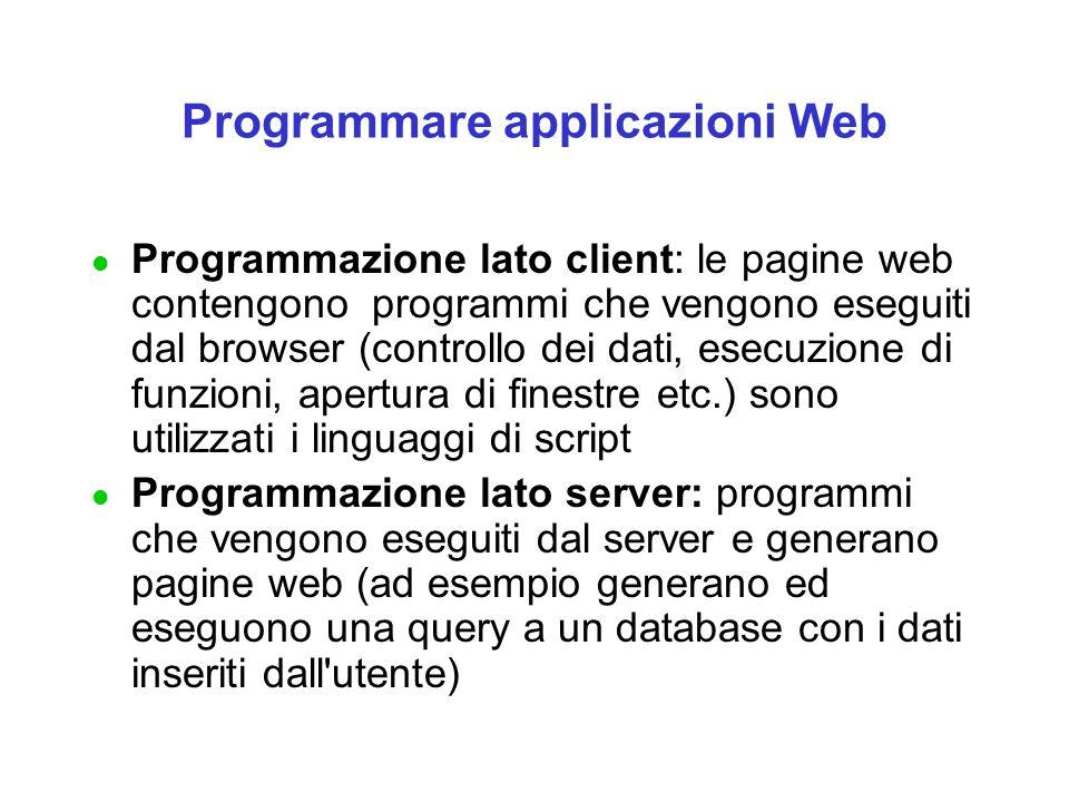 Programmare applicazioni Web