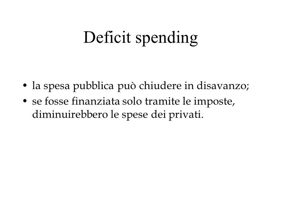 Deficit spending la spesa pubblica può chiudere in disavanzo;