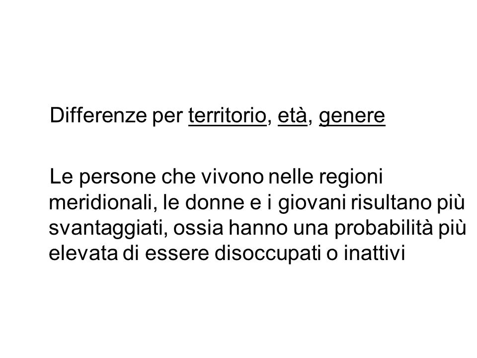 Differenze per territorio, età, genere