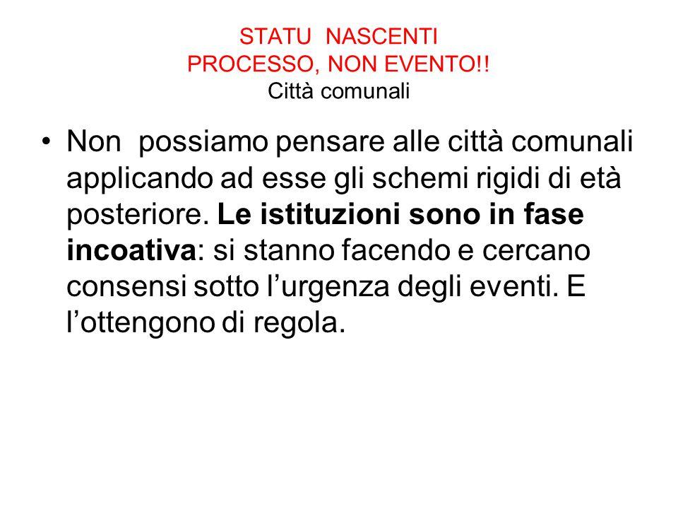 STATU NASCENTI PROCESSO, NON EVENTO!! Città comunali