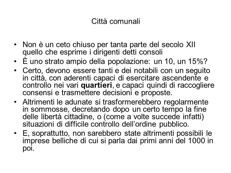 Città comunali Non è un ceto chiuso per tanta parte del secolo XII quello che esprime i dirigenti detti consoli.