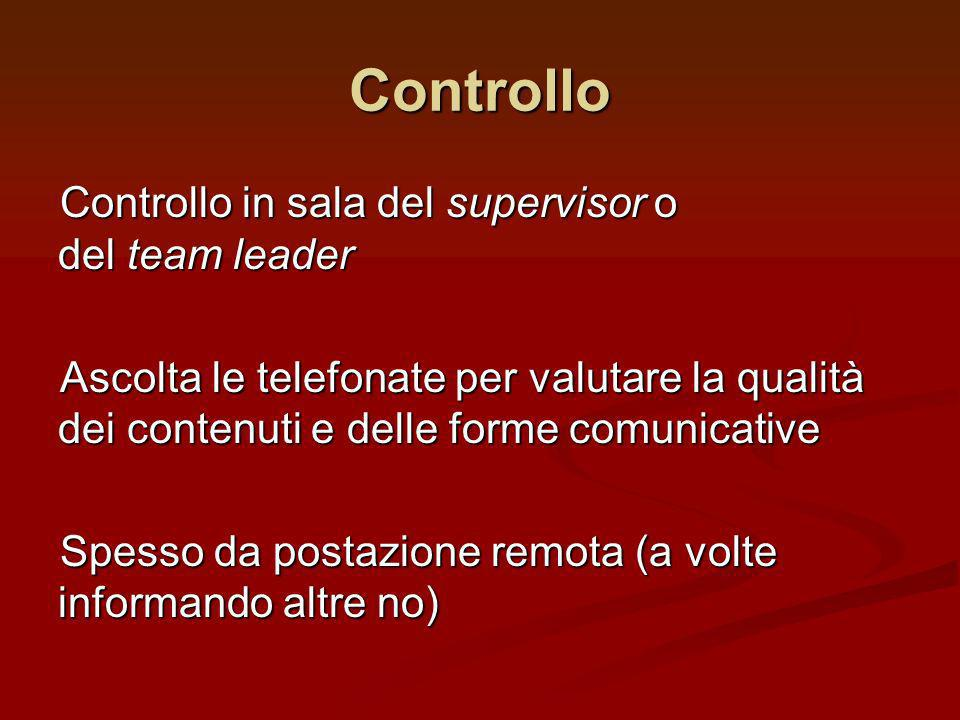 Controllo Controllo in sala del supervisor o del team leader