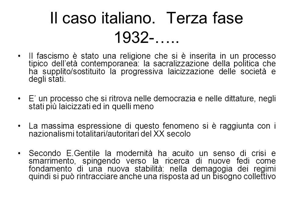 Il caso italiano. Terza fase 1932-…..