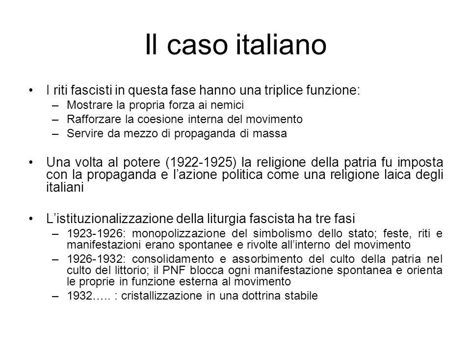 Il caso italiano I riti fascisti in questa fase hanno una triplice funzione: Mostrare la propria forza ai nemici.