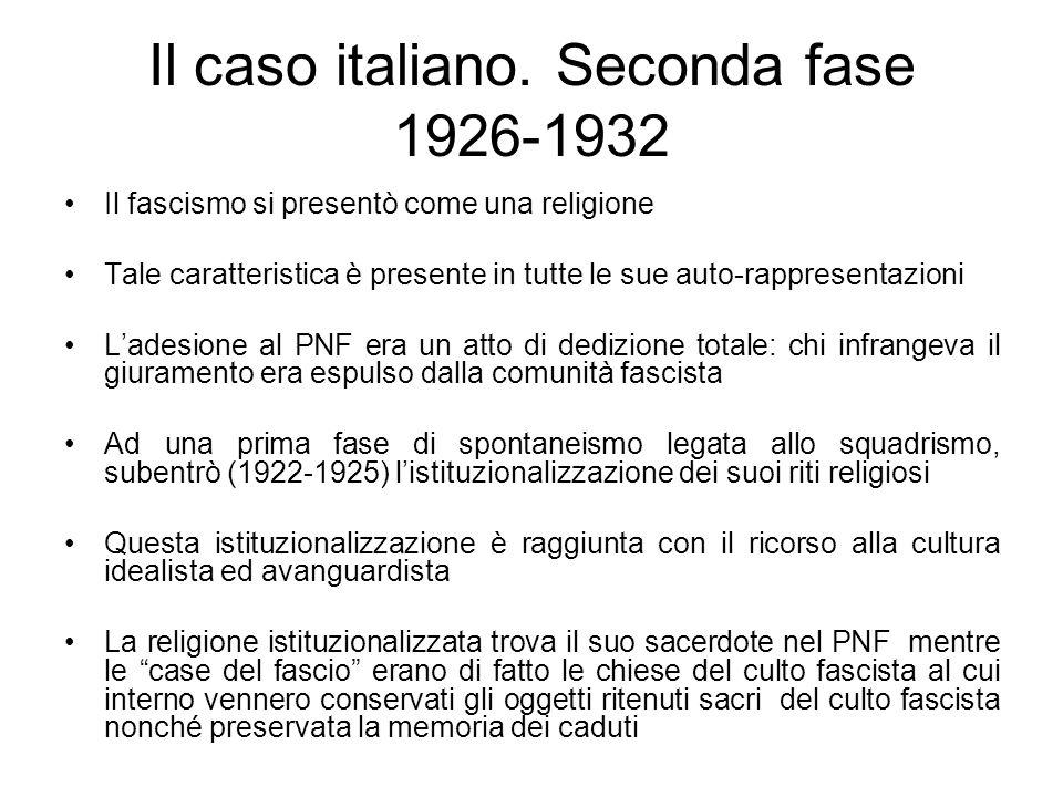 Il caso italiano. Seconda fase 1926-1932