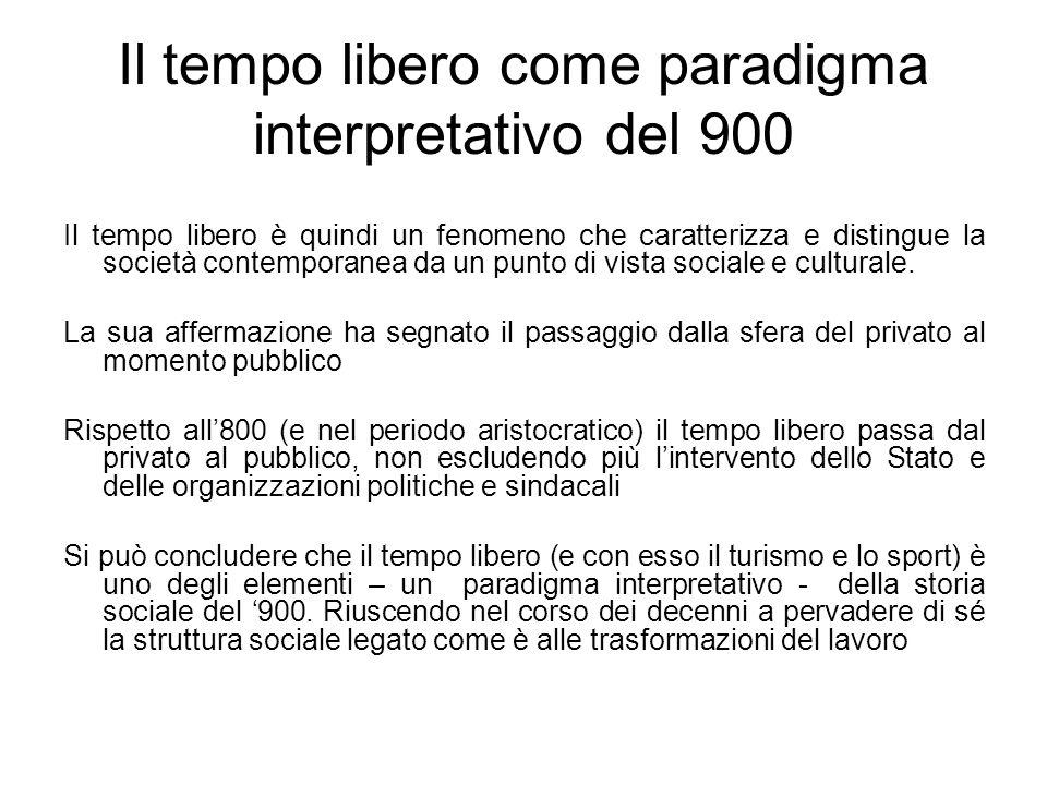 Il tempo libero come paradigma interpretativo del 900