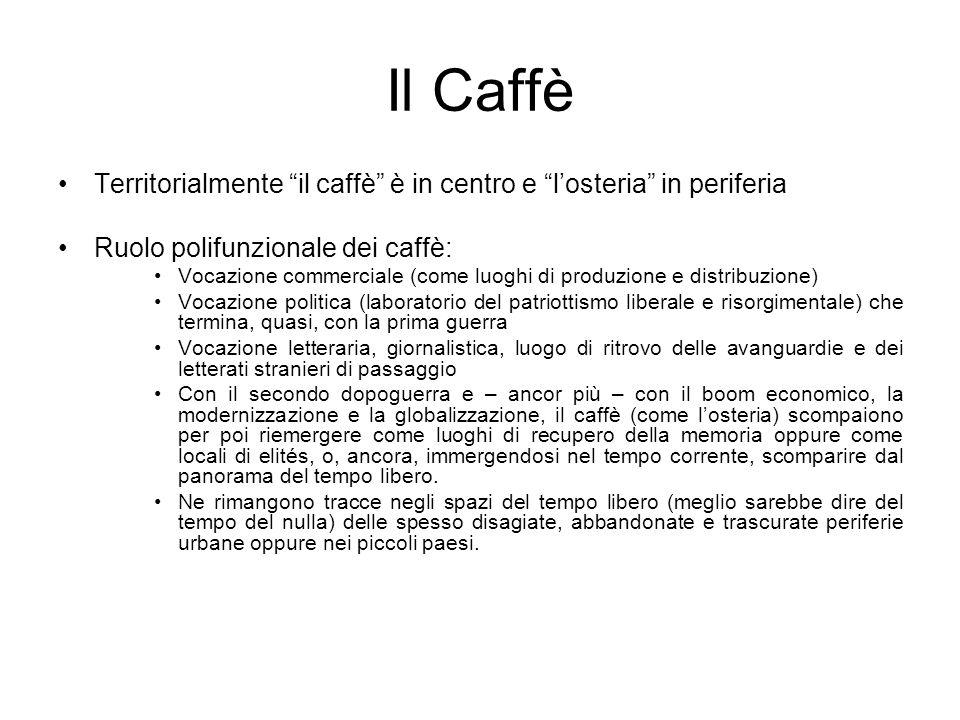 Il CaffèTerritorialmente il caffè è in centro e l'osteria in periferia. Ruolo polifunzionale dei caffè: