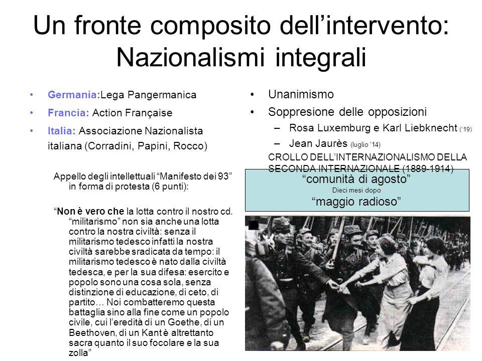 Un fronte composito dell'intervento: Nazionalismi integrali