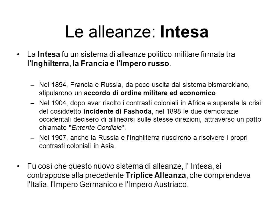 Le alleanze: IntesaLa Intesa fu un sistema di alleanze politico-militare firmata tra l Inghilterra, la Francia e l Impero russo.