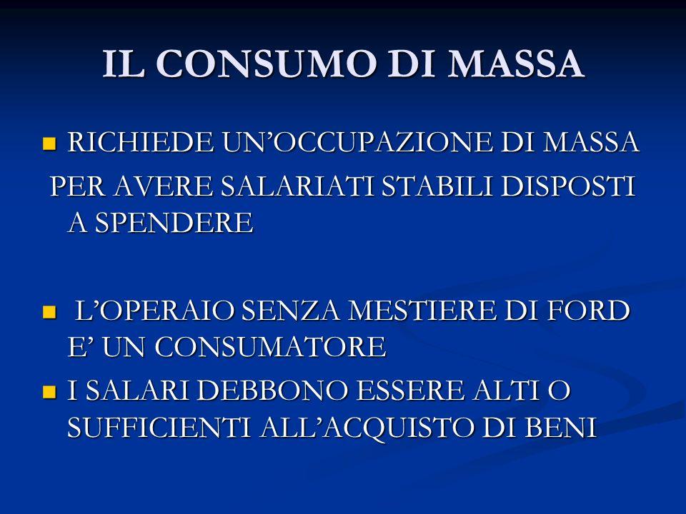 IL CONSUMO DI MASSA RICHIEDE UN'OCCUPAZIONE DI MASSA