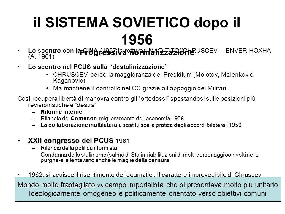 il SISTEMA SOVIETICO dopo il 1956 Progressiva normalizzazione