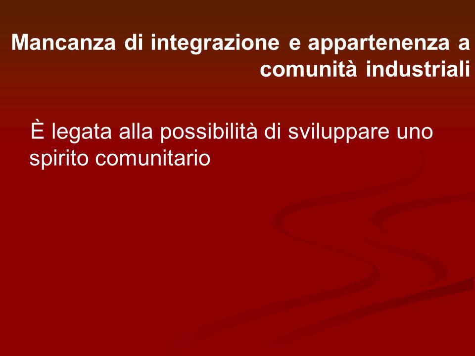Mancanza di integrazione e appartenenza a comunità industriali