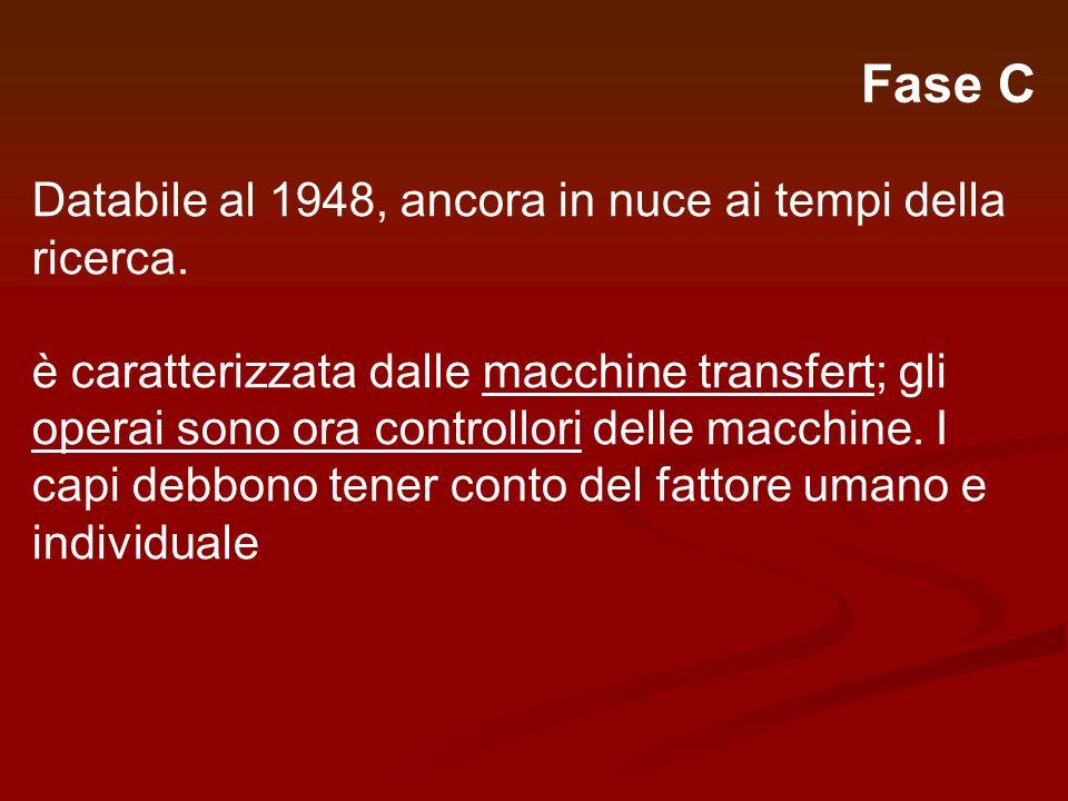Fase C Databile al 1948, ancora in nuce ai tempi della ricerca.