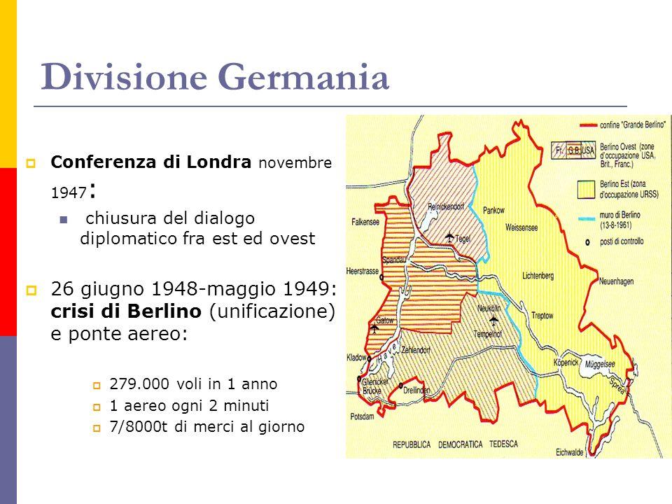 Divisione Germania Conferenza di Londra novembre 1947: chiusura del dialogo diplomatico fra est ed ovest.