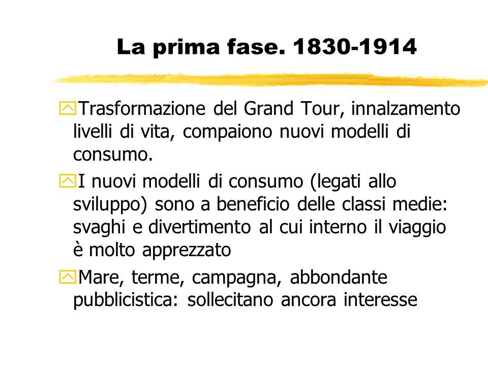 La prima fase. 1830-1914 Trasformazione del Grand Tour, innalzamento livelli di vita, compaiono nuovi modelli di consumo.