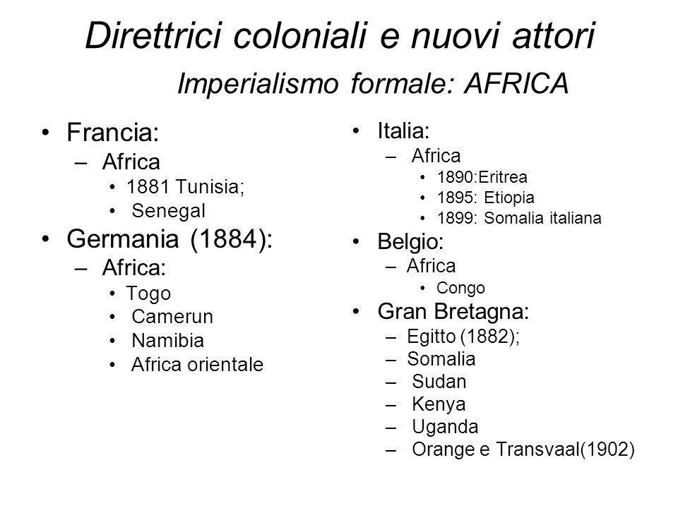 Direttrici coloniali e nuovi attori Imperialismo formale: AFRICA