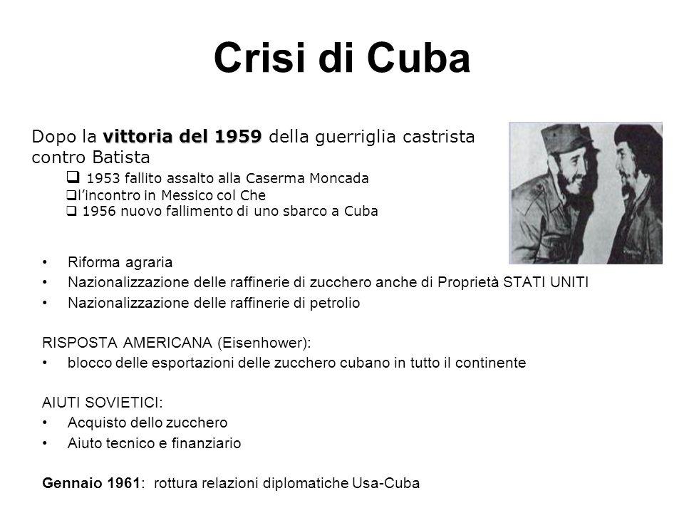 Crisi di Cuba Dopo la vittoria del 1959 della guerriglia castrista contro Batista. 1953 fallito assalto alla Caserma Moncada.
