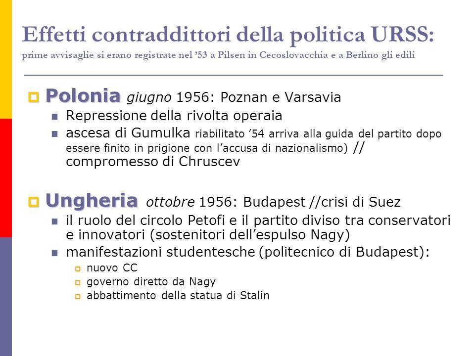 Effetti contraddittori della politica URSS: prime avvisaglie si erano registrate nel '53 a Pilsen in Cecoslovacchia e a Berlino gli edili