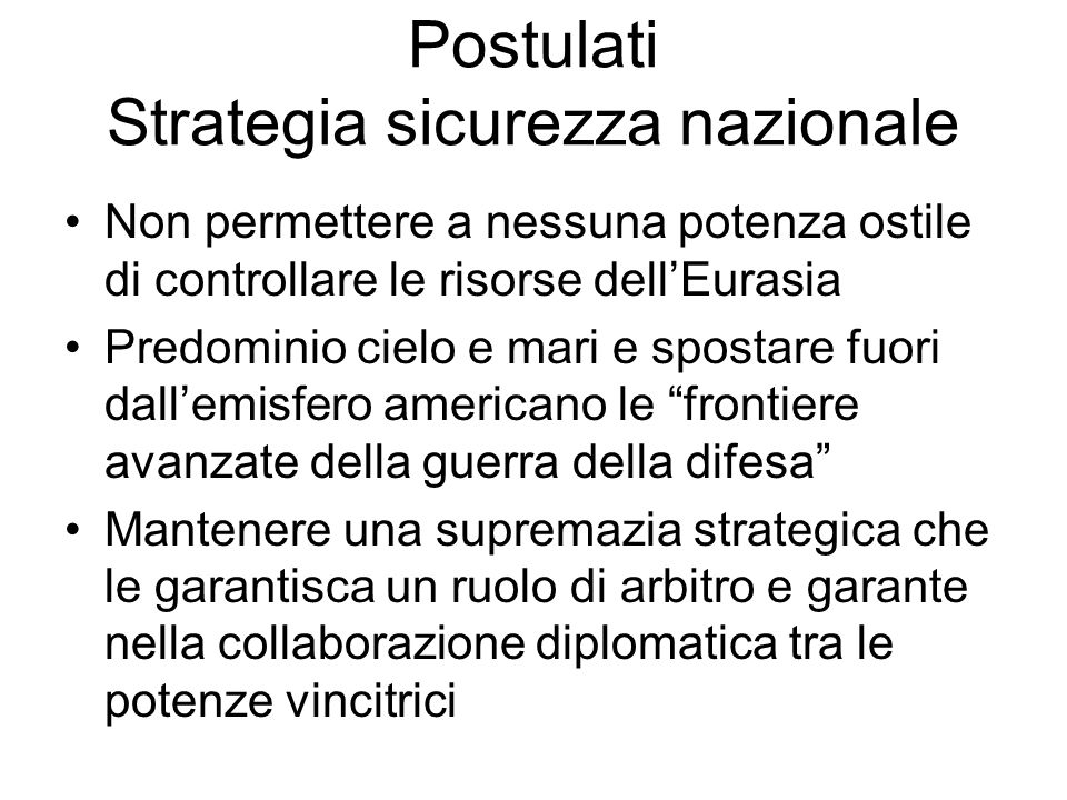 Postulati Strategia sicurezza nazionale