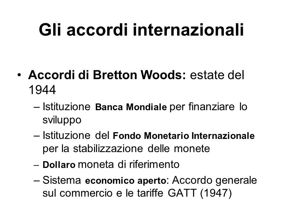 Gli accordi internazionali