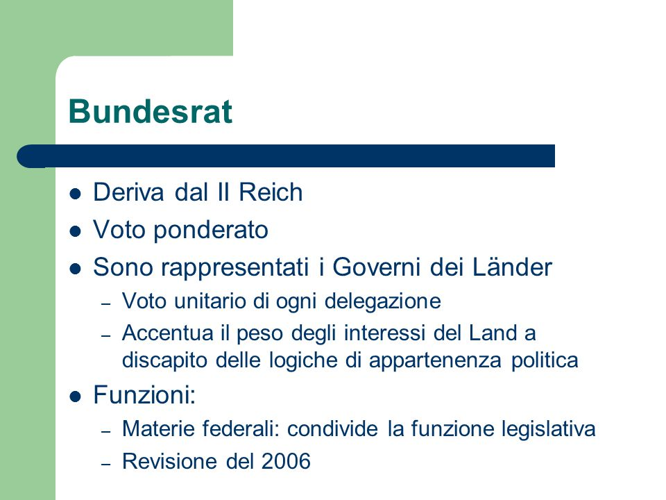 Bundesrat Deriva dal II Reich Voto ponderato
