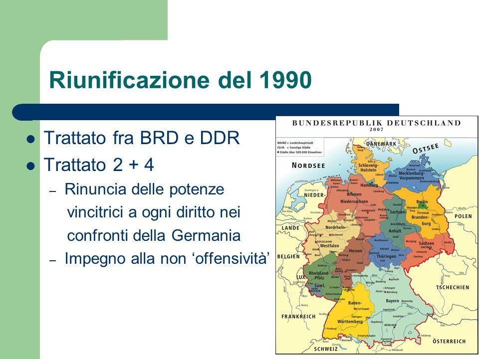 Riunificazione del 1990 Trattato fra BRD e DDR Trattato 2 + 4