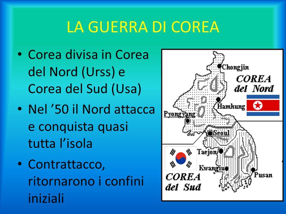 LA GUERRA DI COREA Corea divisa in Corea del Nord (Urss) e Corea del Sud (Usa) Nel '50 il Nord attacca e conquista quasi tutta l'isola.