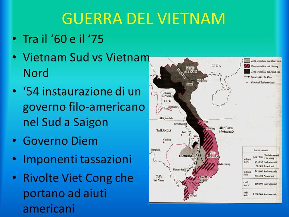 GUERRA DEL VIETNAM Tra il '60 e il '75 Vietnam Sud vs Vietnam Nord