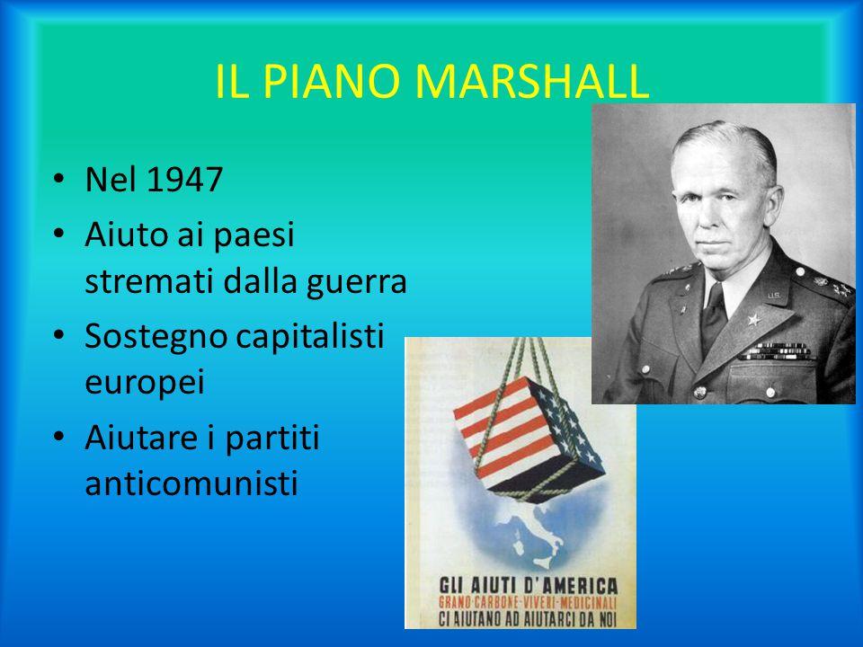 IL PIANO MARSHALL Nel 1947 Aiuto ai paesi stremati dalla guerra
